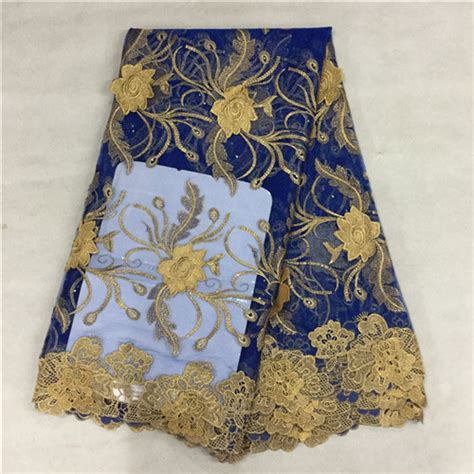 blue and gold african lace l 16 gold thread embroidery african guipure french lace