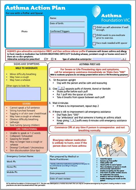 asthma care plan template asthma plans an asthma australia site