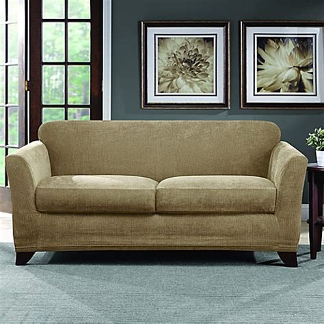bed bath beyond slipcovers sure fit 174 ultimate stretch chenille loveseat slipcover