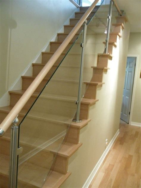 glass stair banisters wood stairs and stainless steel glass railings