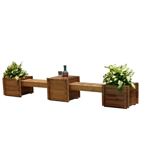bench with flower box thermod contessa 138 in x 20 in wood bench planter th