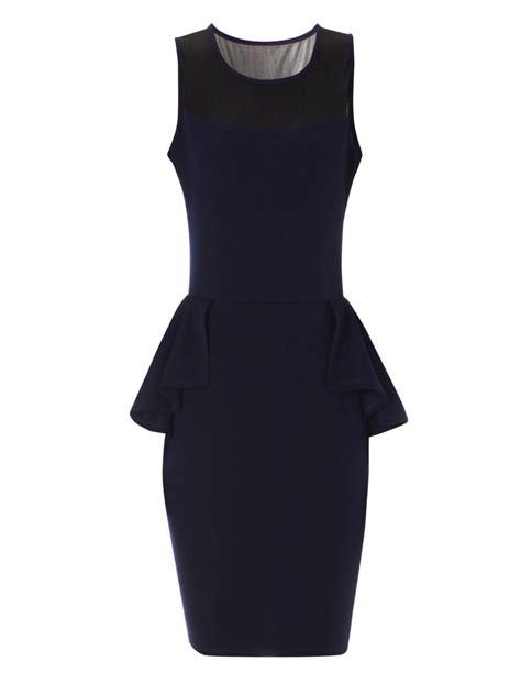 Blue Peplum Dress norman navy mesh peplum dress in blue navy lyst