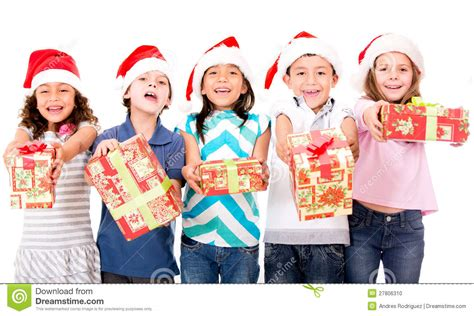 gift children with presents stock photo image 27806310