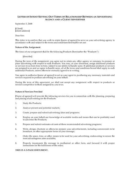 Letter Of Intent Unm letter of intent to hire advertising agency forms