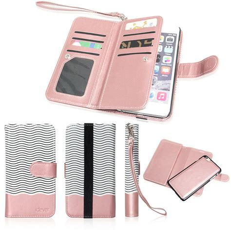 leather removable wallet magnetic flip card cover for iphone 7 6 6s plus ebay