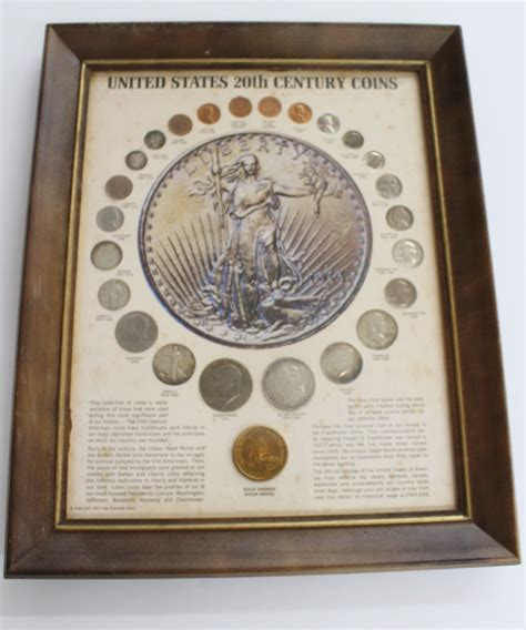 20th Century Coins Framed by United States 20th Century Coins Mounted Framed