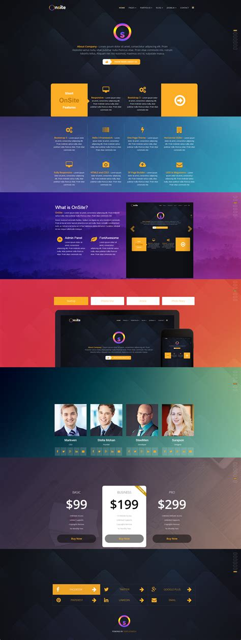 Onsite One Page Business Joomla Template By Pcmshaper Themeforest Joomla One Page Template Free
