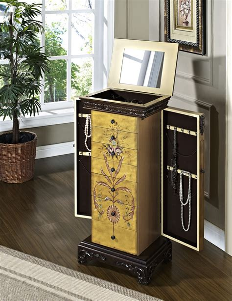 pulaski jewelry armoire powell masterpiece antique parchment hand painted jewelry
