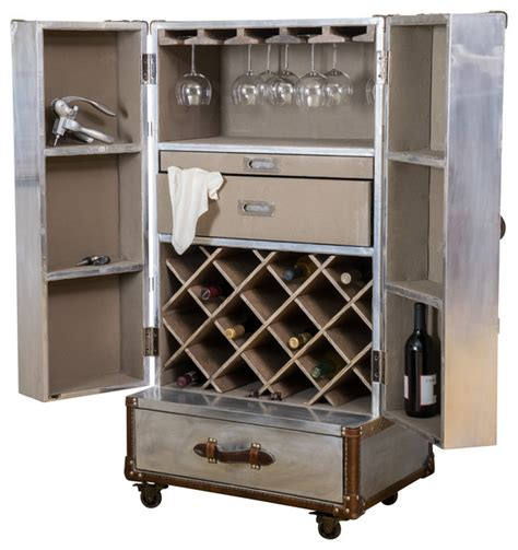 Industrial Bar Cabinet Leandro Rolling Storage Steamer Wine Cabinet Industrial Wine And Bar Cabinets By Great