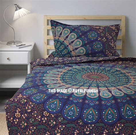 blue boho bedding boho blue twin size peafowl mandala bedding duvet set with