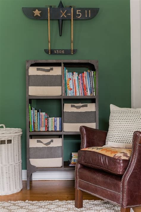 hunter green bedroom walls industrial bookcase transitional boy s room erin