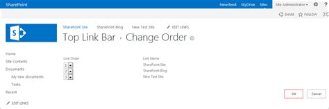 sharepoint top link bar how to change the order of the items in the top link bar