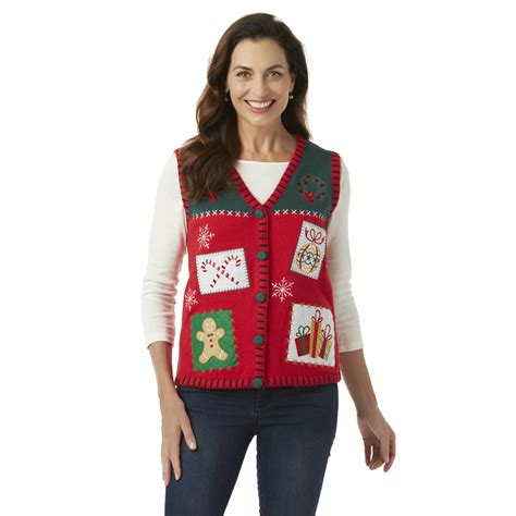 holiday editions women s christmas sweater vest candy canes