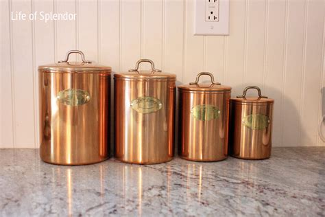 vintage kitchen canister vintage copper kitchen canisters thewhitebuffalostylingco