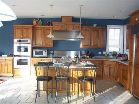 blue kitchen with oak cabinets bloombety paint color for wood kitchen cabinets paint