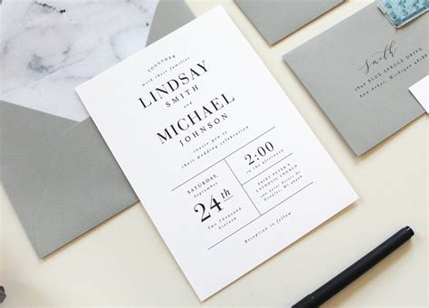Unique Contemporary Wedding Invitations by Modern Wedding Invitations Modern Marble Wedding Invitation