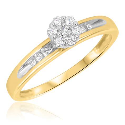 1 6 carat t w engagement ring 10k yellow