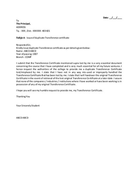 School Application Letter For Tc Application To Issue Of Duplicate Transference Applicationcertificate