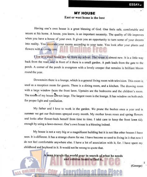 house and home essay 10th class english important essays notes easy and