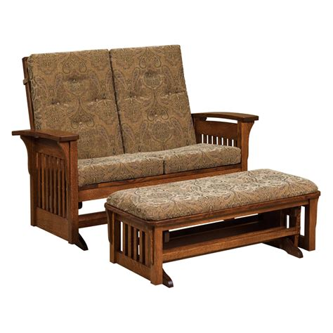 gliding loveseat bow arm slat loveseat glider shipshewana furniture co