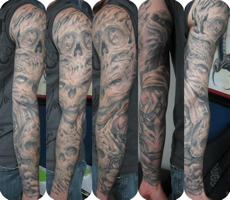 skull tattoo designs for sleeves grey ink biomechanical skulls sleeve tattoos