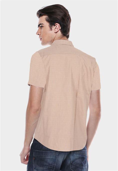 Kemeja Wanita Lengan Pendek Lgs O1129400 Putih regular fit kemeja formal coklat tekstur kotak