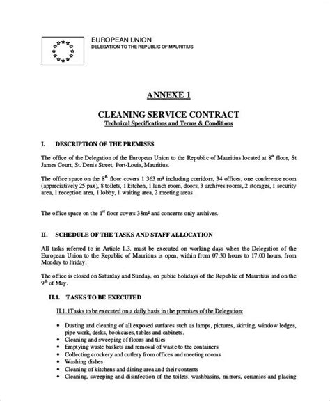 13 Sle Cleaning Service Contract Template Pages Docs Word Standard Cleaning Contract Template