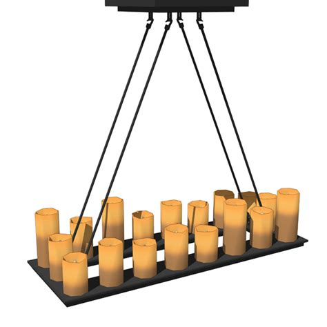 Rectangle Candle Chandelier Pillar Candle Rectangular Chandeliers 3d Model Formfonts 3d Models Textures