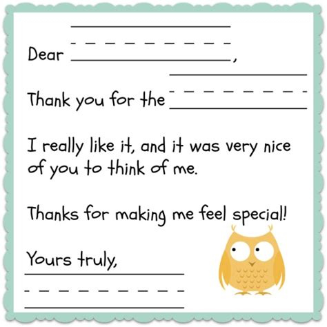 printable thank you letters thank you note template for kids free notes template