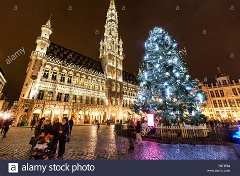 christmas time in brussels belgium huge christmas tree
