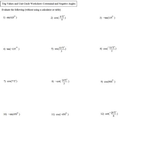 Unit Circle Worksheet With Answers by Worksheets Unit Circle Practice Worksheet Opossumsoft