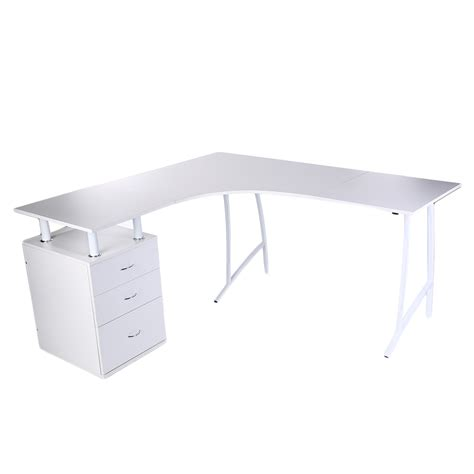 2017 new white corner computer desk home office pc table