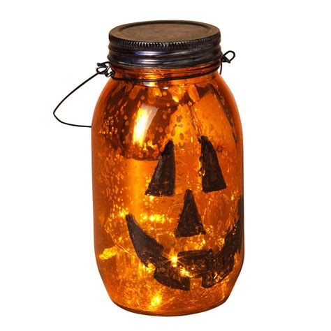 halloween mason jar pumpkin light battery operated