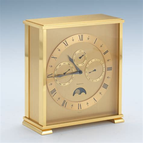 tiffany co brass desk clock tiffany co annual calendar and moon phase gilt brass