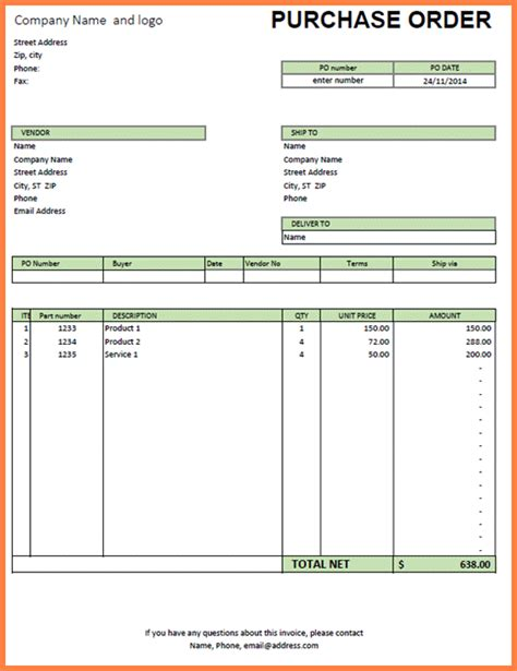 Purchase Order Letter Format In Excel Purchase Order Template Excel Sales Report Template