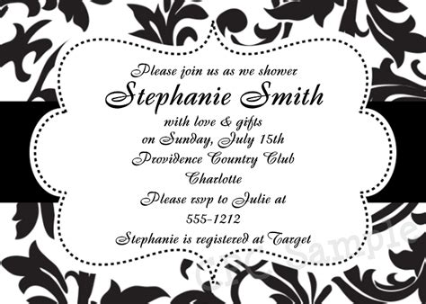 6 best images of black and white printable invitations