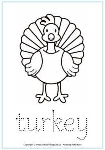 turkey tracing page worksheet for children