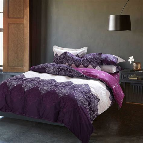 queen quilt bedding papa mima purple bedding set 4pcs cotton duvet cover set