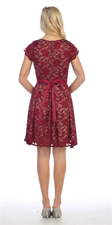 Dress Front Ribbon Maroon A15457gn knee length lace sleeve dress burgundy taupe with ribbon bow discountdressshop