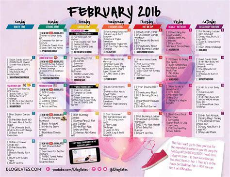 workout calendar blogilates february 2016 workout calendar fitness