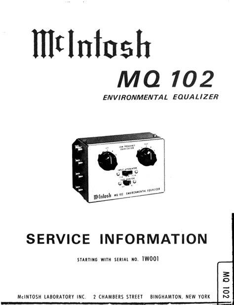 mcintosh mq 102 original service manual download