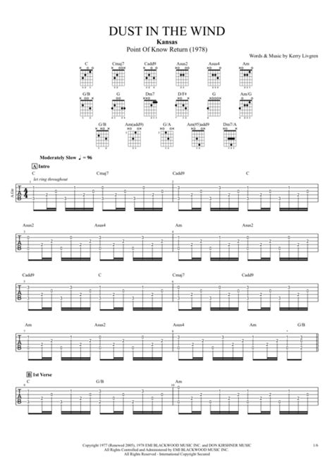 kansas dust in the wind wow what a dust in the wind by kansas full score guitar pro tab mysongbook com