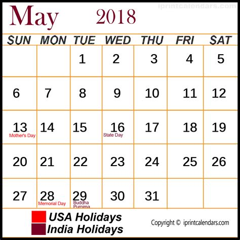 Calendar 2018 With All Holidays May 2018 Calendar With Holidays Templates Tools