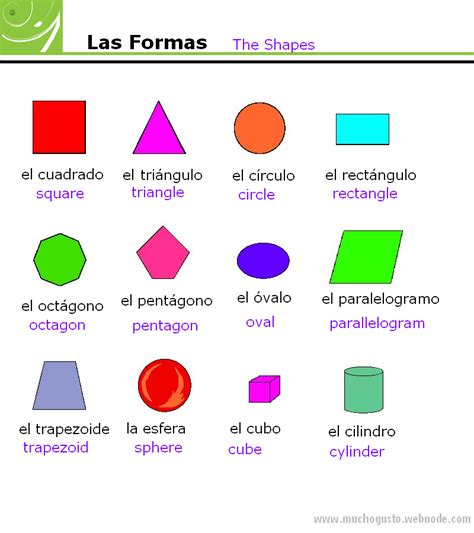 Printable Shapes In Spanish | shapes and colors in spanish coloring pages