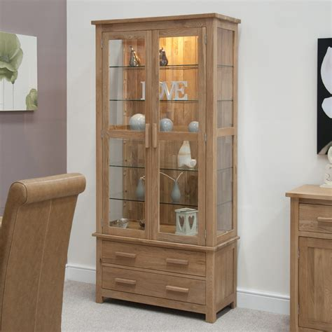 Glass Door Cabinet For Display Eton Solid Oak Living Room Furniture Glazed Display Cabinet Cupboard Ebay