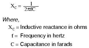 capacitive reactance ohms ac circuit equations