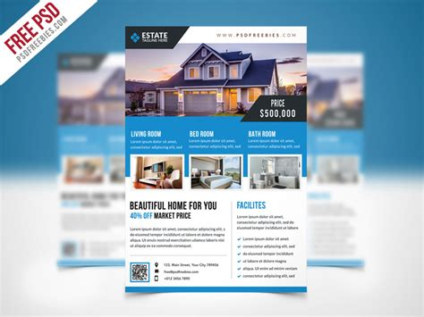 Clean Real Estate Flyer Template PSD Download   Download PSD