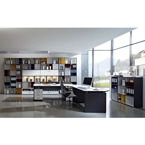 White Home Office Furniture Sets Linea Set A Office Room Furniture In Anthracite White 18094