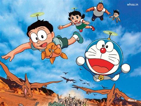 doraemon   friends flying  dinosaur