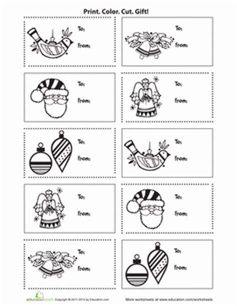 printable holiday gift tags to color printable holiday gift tags worksheet education com